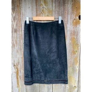 DANIER LEATHER suede black beaded skirt